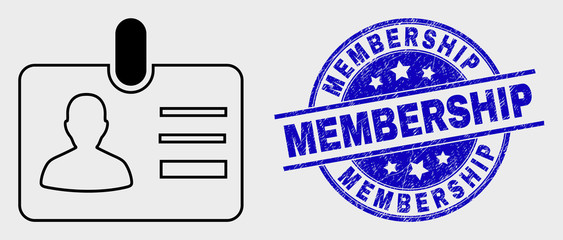 Vector stroke user id badge icon and Membership seal. Blue round distress watermark with Membership title. Black isolated user id badge icon in stroke style.
