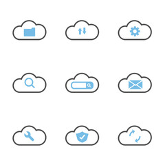 cloud technology system simple flat icons
