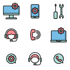 customer services and maintenance icons