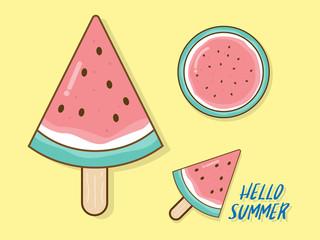 watermelon in summer vector flat design