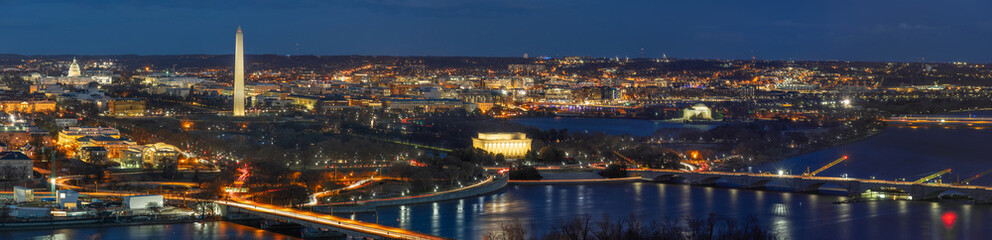 Panorama Top view scene of Washington DC down town which can see United states Capitol, washington monument, lincoln memorial and thomas jefferson memorial, history and culture for travel concept Fototapete