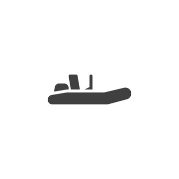 Fishing boat vector icon. Rubber boat filled flat sign for mobile concept and web design. Inflatable motorboat glyph icon. Symbol, logo illustration. Vector graphics