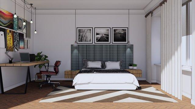 interior of contemporary bedroom