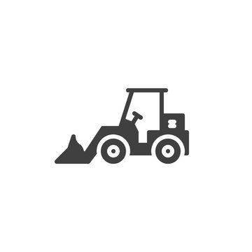 Tractor loader excavator vector icon. filled flat sign for mobile concept and web design. Front loader glyph icon. Construction machine symbol, logo illustration. Vector graphics