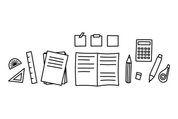 Doodle art of stationery set. Graphic element for office and school concept.