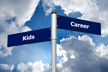 Street sign in front of cloudy sky representing difficult choice between 'kids' and 'career'