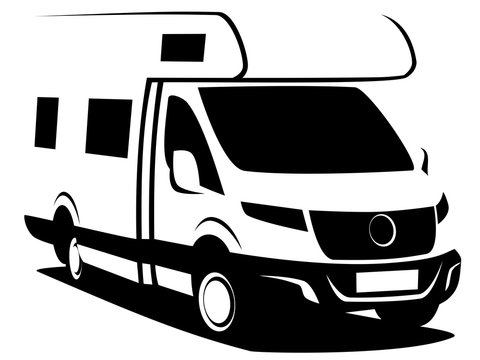 B&W illustration of a camper van (RV) used for family trips