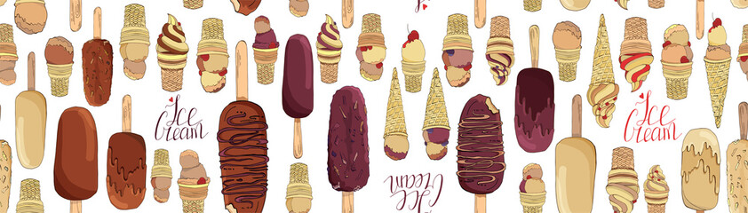 Vector seamless pattern. Endless textures with hand drawn chocolate ice cream. Creative decoration for bar, cafe, menu, ice cream or sweet shop.Handwritten lettering