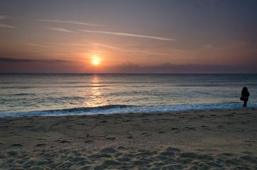 Sunrise on the beach in Obzor resort in Bulgaria, Europe