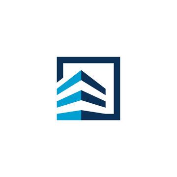 building square logo monogram blue