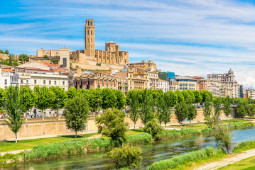 View at the Old Cathedral Seu Vella with Segre river in Lleida - Spain