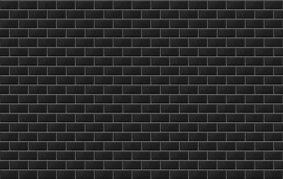 Panoramic image of black ceramic metro tile wall. Black tiles texture background.
