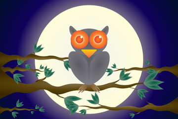 Happy Halloween The owls are on the branches Moon backdrop