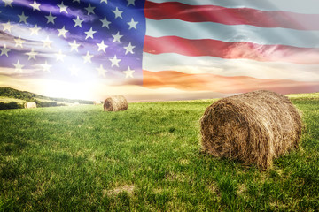 National agricultural industry concept - idyllic farm field with hay bales on on the background of the USA flag (mixed). Fototapete