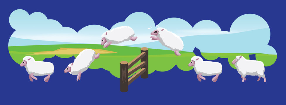 Sheep Jumping Fences Animation Sequence Cartoon Vector
