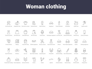 woman clothing outline icons