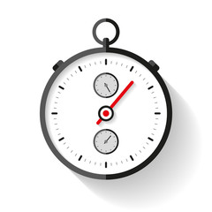 Stopwatch icon in flat style, round timer on white background. Sport clock. Chronometer. Time tool. Vector design element for you business project