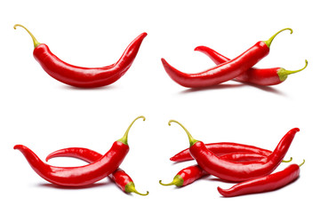 In de dag Hot chili peppers Collection of red chili peppers, isolated on white background
