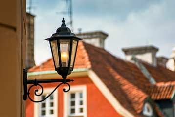 Historic old town market colorful building with street lantern in Poznan