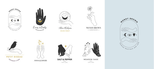 Collection of fine, hand drawn style logos and icons of hands. Esoteric, fashion, skin care and wedding concept illustrations. Vecor design Wall mural
