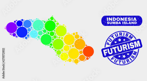 Rainbow colored spotted Sumba Island map and seals  Blue