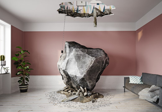 meteor falling into the living room.