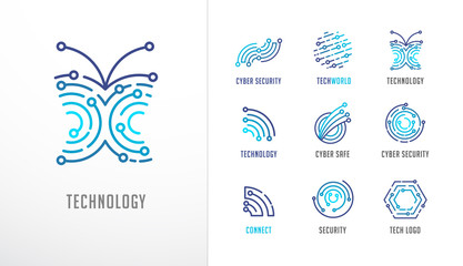 Collection of logos. Technology, biotechnology, high tech, fintech icons and symbols