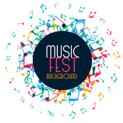 music poster design with colorful notes