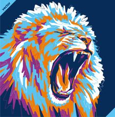 Pop art portrait of agressive lion. Vector illustration