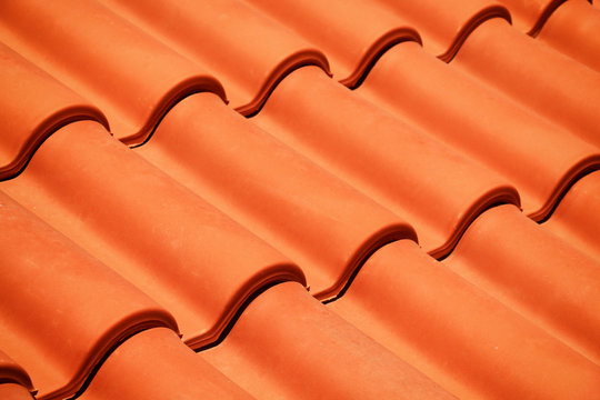 new red roof tiles closeup