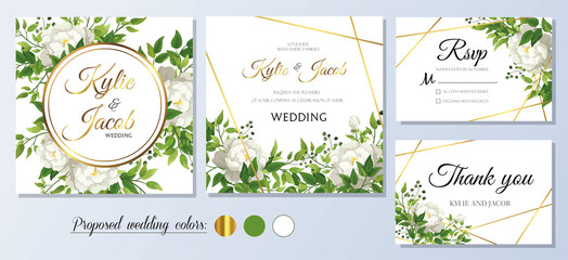 Wedding Invitation, thank you and rsvp card. Floral white roses with green fern leaves, foliage greenery decorative gold frame print. Vector elegant cute rustic.