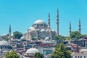 Aluminium Prints Turkey 05/26/2019 Istanbul, Turkey, a standard and tourist look at The Blue Mosque also known as Sultan Ahmet Camii. tourist image as a postcard