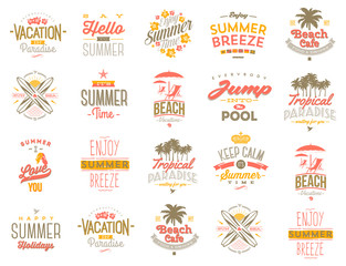 Summer vacation / holiday label vector set