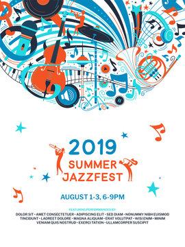 Summer jazz festival announcement poster flat template