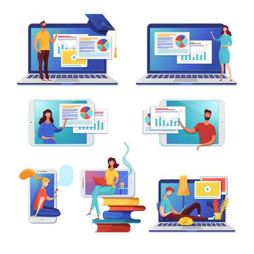 Internet learning flat vector illustrations set