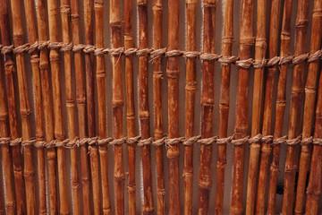 Hintergrundmuster Bambus getrocknet und mit Seilen fixiert