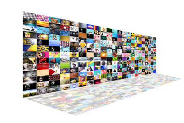 Web streaming media TV video technology and multimedia business internet communication concept: background with endless walls of screens with color photos and colorful displays with different images o