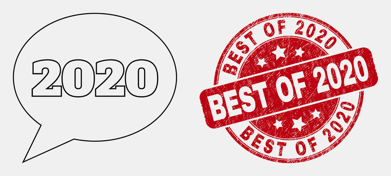 Vector linear 2020 message balloon icon and Best of 2020 seal stamp. Blue rounded textured stamp with Best of 2020 title. Black isolated 2020 message balloon icon in line style.