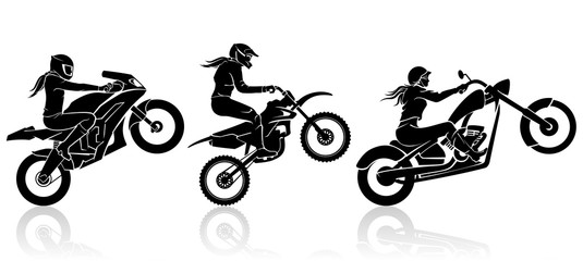 Extreme Motorbike Female Driver Fototapete