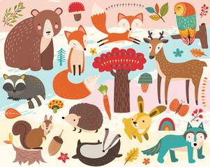 Slats personalizados com sua foto Cute Woodland Animal Element Set