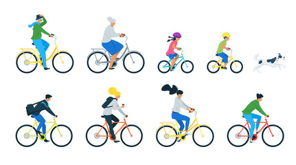 Bicycle riders flat vector illustrations set Fototapete