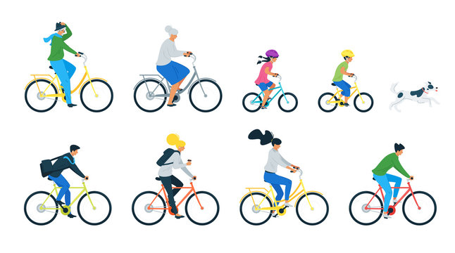 Bicycle riders flat vector illustrations set