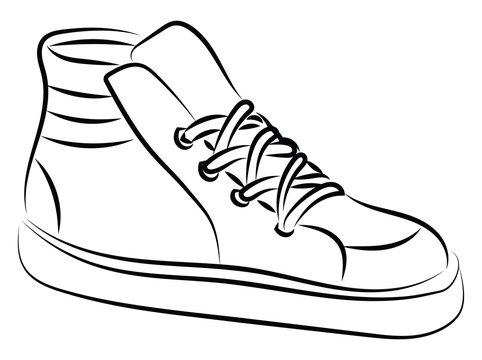 Hi tops, illustration, vector on white background.