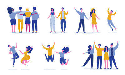 Fototapeta Set of young jumping friend people characters. Stylish modern vector illustration with happy male and female characters, teenagers, students. Party, sport, dance and friendship team concept obraz