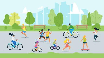 Sport activity in park flat vector illustration Wall mural