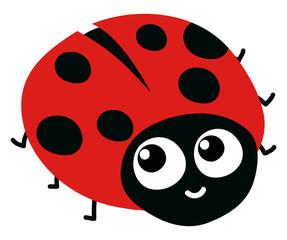 Cute ladybug, illustration, vector on white background