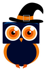 Blue owl with hat, illustration, vector on white background