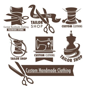Custom handmade clothing scissors and thread mannequin and sewing tools