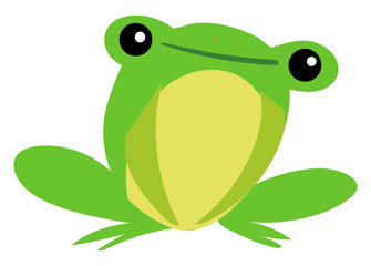 Happy frog, illustration, vector on white background.