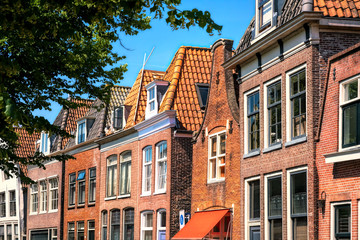 Beautiful facades by the harbor in Hoorn, Netherlands